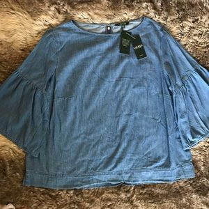 NWT Ralph Lauren blue denim bell sleeve top 3X